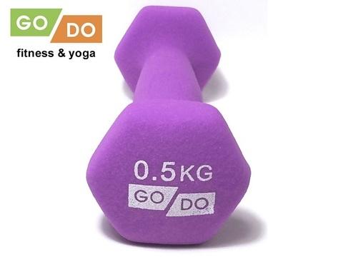 Гантель GO DO в виниловой матовой (неопреновой) оболочке. Вес 0,5 кг. (Фиолетовый), пара (Спр) (к 36512)