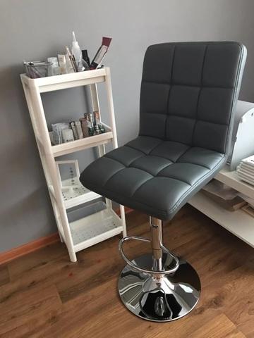 Барный стул Kruger / Крюгер (стул стилиста, визажиста, бровиста), регулируемый по высоте, экокожа