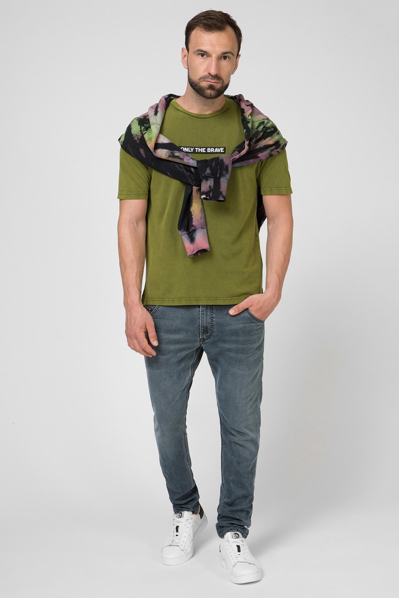 Мужская зеленая футболка T-just-slits Diesel