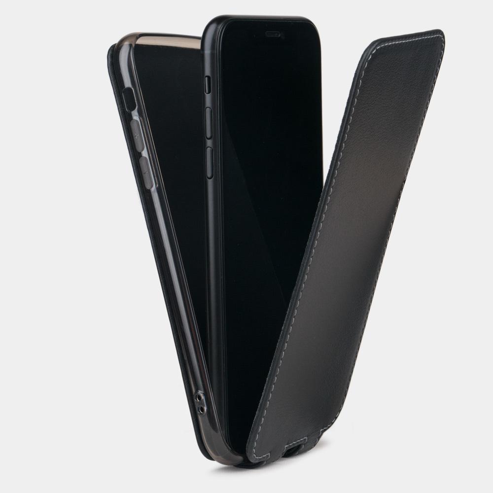 Чехол для iPhone 8 Plus из натуральной кожи теленка, черного цвета