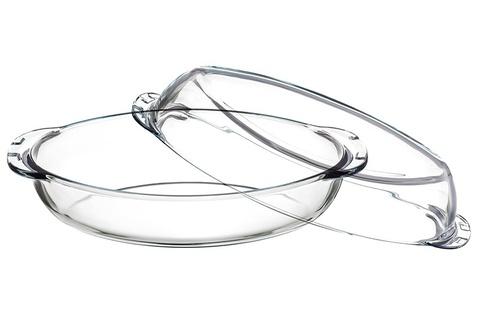 Кастрюля овальная с крышкой 2 литра Borcam 59022 жаропрочная стеклянная форма для запекания 35х19х7 см рубашка