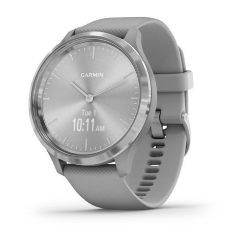 Garmin Vivomove 3 - Silver Stainless Steel Bezel with Powder Gray Case and Silicone Band