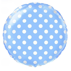 Фольгированный шар Горошек Голубой 18