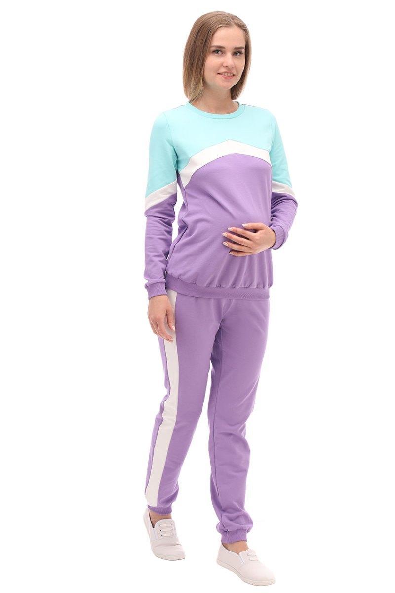 Спортивный костюм для беременных 09964 зеленый/сиреневый
