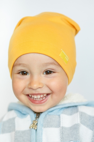 Детская шапка хлопковая гладкая тонкая горчичная желтая