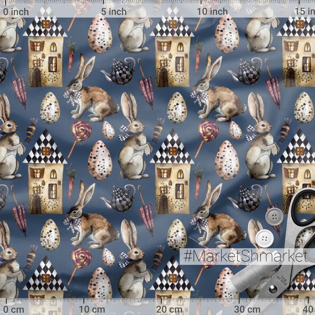 Домик с зайцами, чайником и зонтом