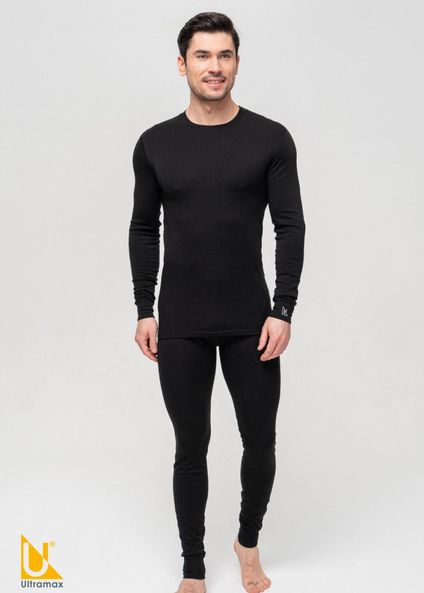 Комплект термобелья мужской черного цвета Ultramax Merino U2121NEW-BLK