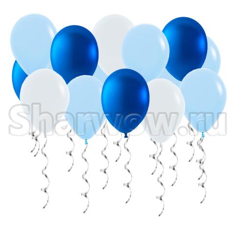 Воздушные шары с гелием под потолок Белый, синий металлик, голубой