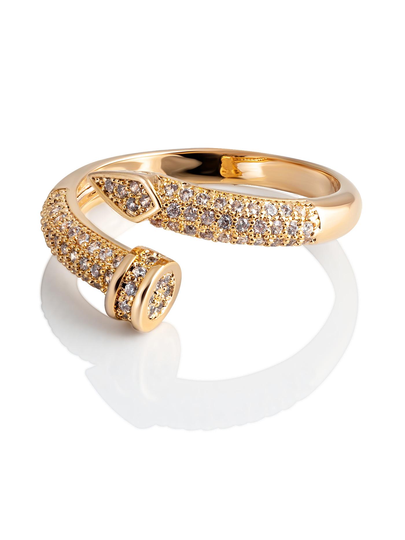 Дизайнерское кольцо Гвоздь с фианитами в подарочной коробке