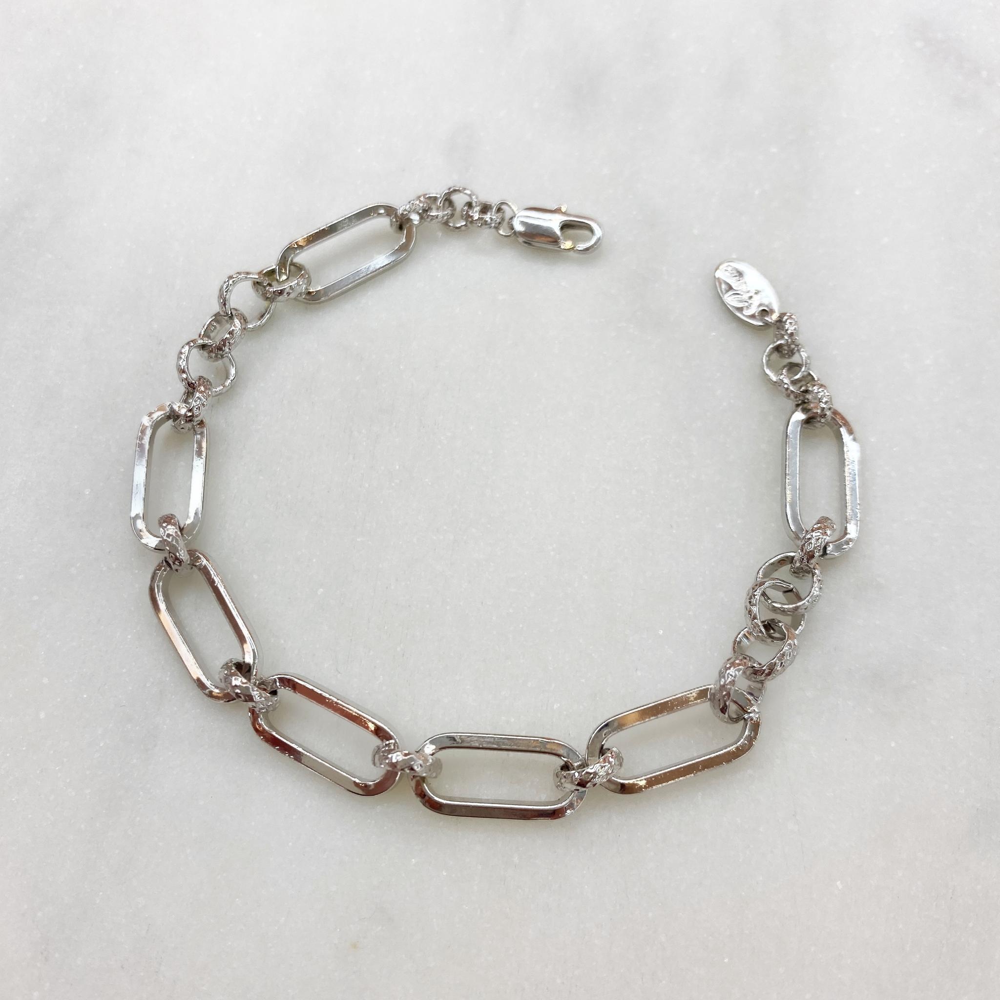 Браслет-цепь из овальных и круглых звеньев (серебристый)