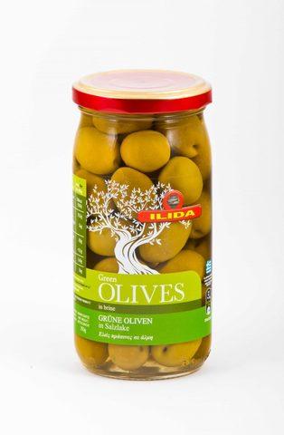 Зеленые оливки с косточкой в рассоле Ilida 350 гр