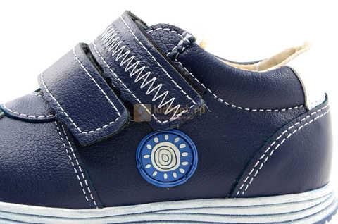 Ботинки для мальчиков Лель (LEL) из натуральной кожи на липучках цвет синий. Изображение 13 из 16.