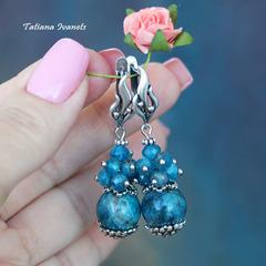 Сине-голубые серьги из апатита