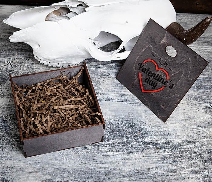 BOX206-1 Деревянная подарочная коробка «День святого Валентина» (17*17*7 см) фото 05