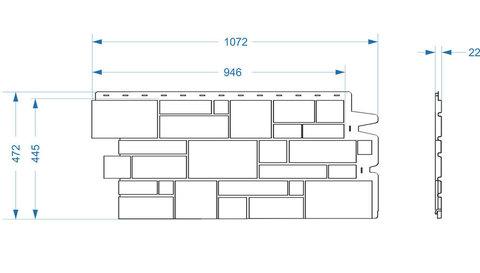 Фасадная панель Деке Замок 946х445 мм Платиновый