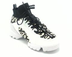 Кожаные кроссовки с текстильными вставками на объемной подошве