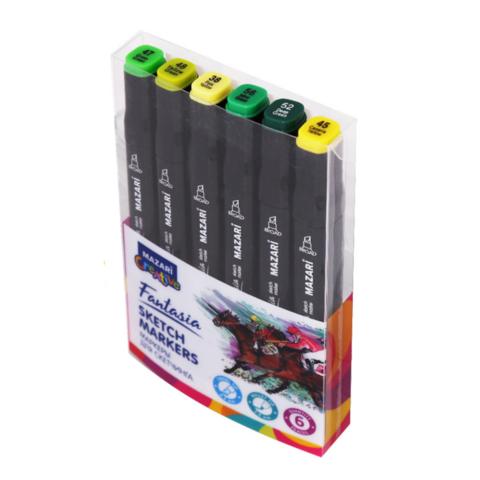 Mazari Fantasia набор маркеров для скетчинга 6 шт двусторонние спиртовые пуля/долото 3.0-6.2 мм (зеленые)
