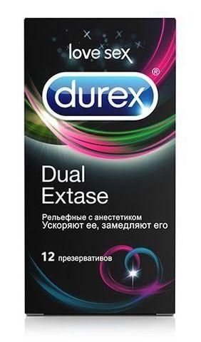 Рельефные презервативы с анестетиком Durex Dual Extase - 12 шт.