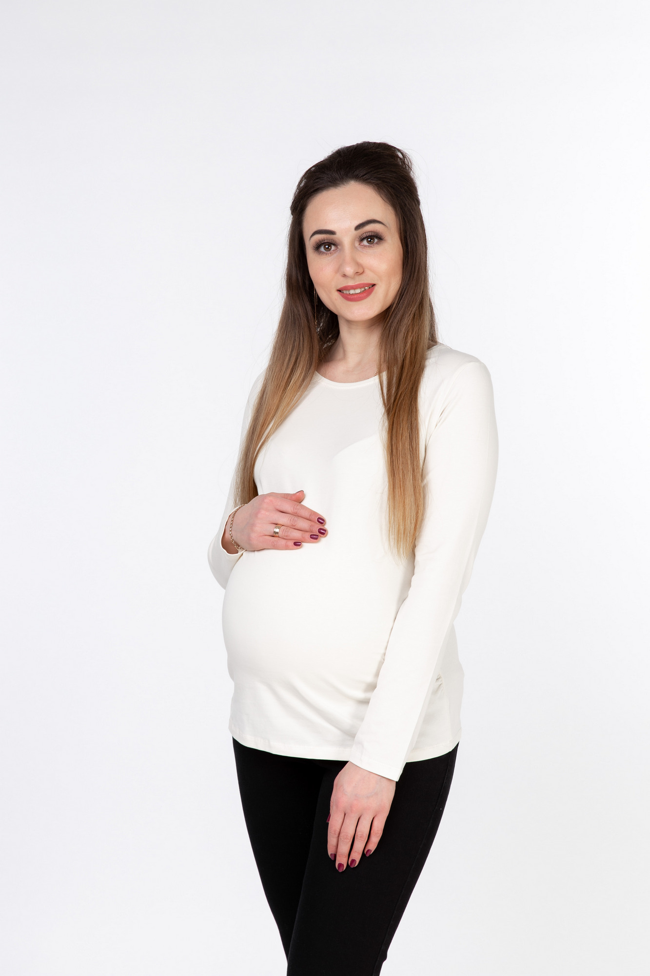 Лонгслив для беременных 10046 молочный