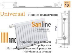 Радиатор Prado Universal Тип 10x300x900 Нижняя подводка