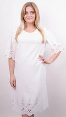 Ажур. Платье для особого случая плюс сайз. Молоко.