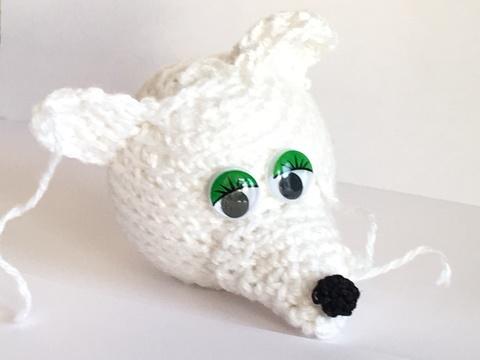 Игрушка для украшения Ёлки - Белая крыса - елочная крыса.