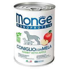 Паштет для собак Monge Dog Monoproteico Fruits монопротеиновый, из кролика с рисом и яблоками