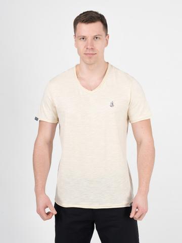 Мужская футболка «Великоросс» цвета слоновая кость V ворот