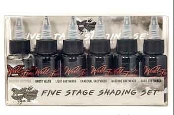 """Краска World Famous Tattoo Ink """"World Famous 5 Stage Shading Set"""" 1 унция - 30 мл"""
