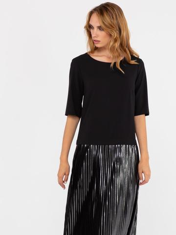 Фото черное платье с круглым вырезом горловины, рукавом до локтя и плиссированной юбкой макси. - Платье З249-393 (1)