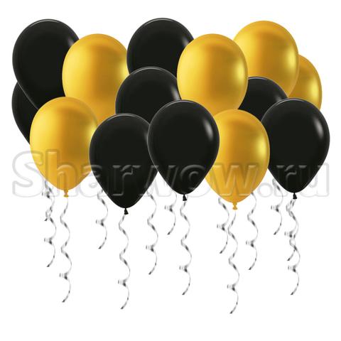 Воздушные шары под потолок Золото металлик и черный