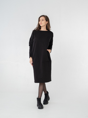 Платье-миди объемного кроя с секретом для кормления