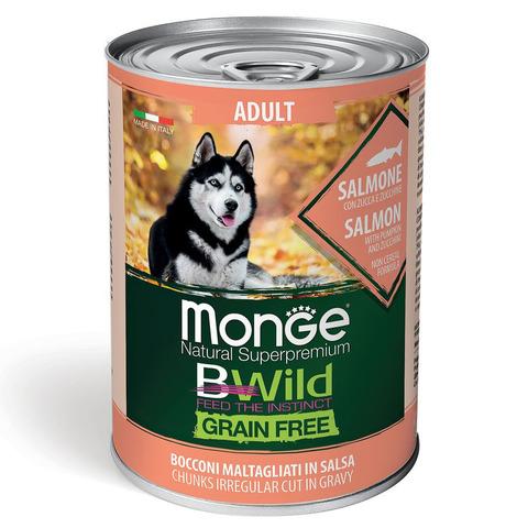 Monge Dog BWild Grain Free Консервы для взрослых собак всех пород из лосося с тыквой и кабачками, беззерновые (банка)
