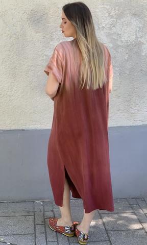 Платье из дикого шелка Сияние Каштан