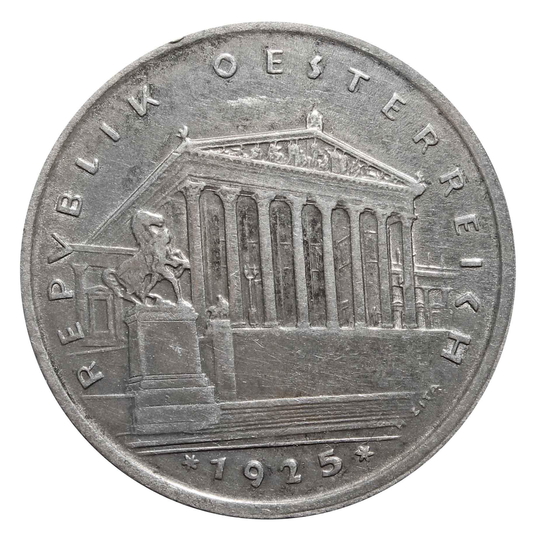 1 шиллинг. Здание Парламента в Вене. Австрия.1925 год. Серебро. VF-XF