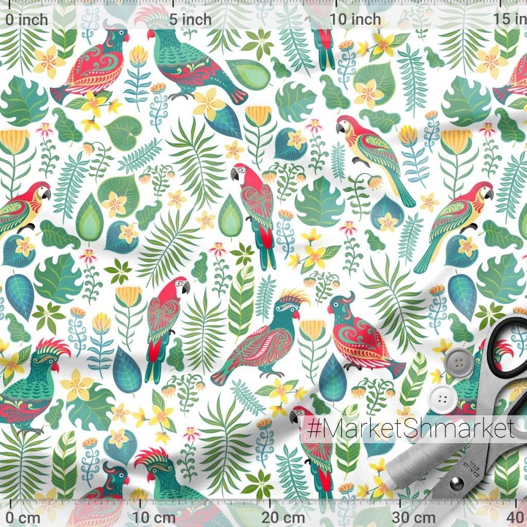 Попугаи, цветы на белом фоне. TROPICANA. (Дизайнер Irina Skaska)
