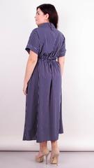 Сара. Стильное миди платье для полных. Синяя полоса.