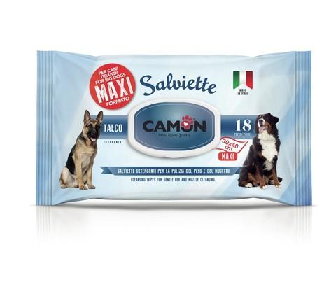 Camon Maxi Влажные салфетки для собак крупных пород с тальком