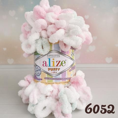 ALIZE PUFFY COLOR 6052, Белый/розовый/мята