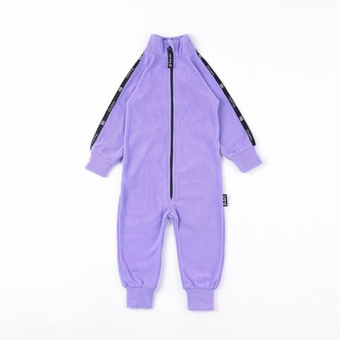 Thermal fleece jumpsuit with stripes - Lilac