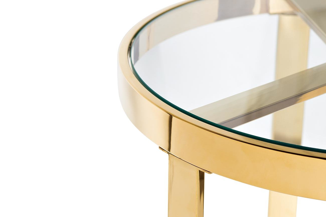47ED-ET031GOLD Стол журнальный прозр.стекло/золото d.50*55см