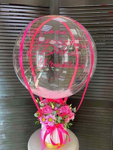 Цветы в коробке с шаром Баблс #98789
