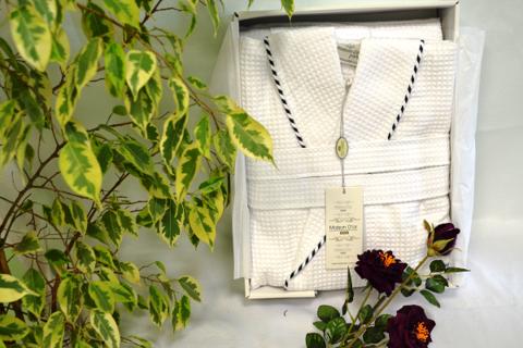 Комплект мужской вафельный халат с полотенцами Marine Maison Dor белый