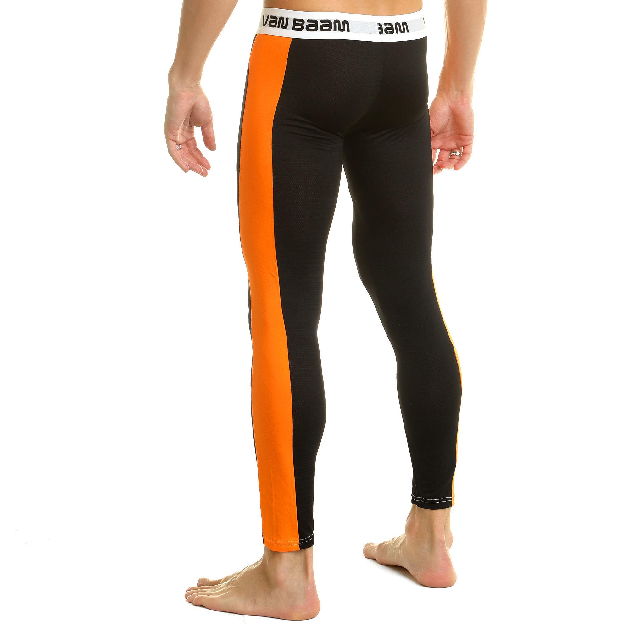 Мужские леггинсы черные с оранжевой вставкой Van Baam 39290