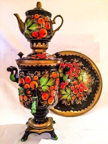 Самовар электрический трехлитровый в наборе с подносом и чайником с художественной росписью «Яблочный спас на черном»