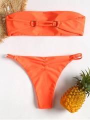 купальник раздельный оранжевый бандо бикини Dark Orange со скидкой 3