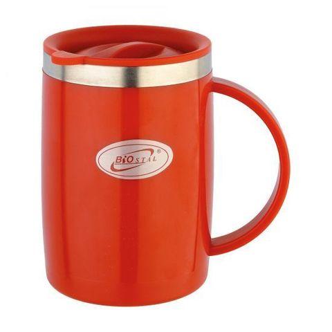 Кружка Biostal Flër (0,5 литра) с крышкой, красная