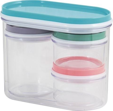Набор банок д/хранения Рыжий кот 330мл,230мл,50мл-2шт,пластик