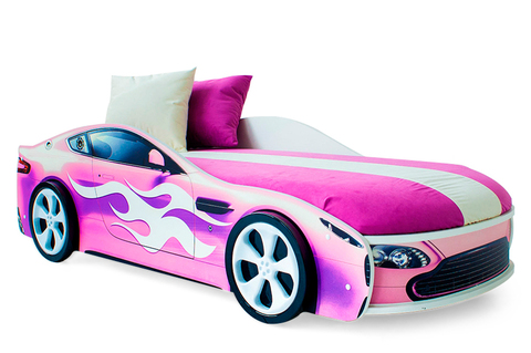 Кровать-машина «Бондмобиль розовый»