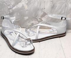 Модные сандали кожаные босоножки женские Evromoda 454-402 White.